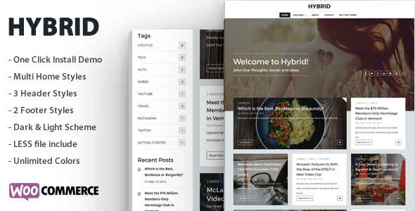 Hybrid - قالب وردپرس مدرن و ساده وبلاگی