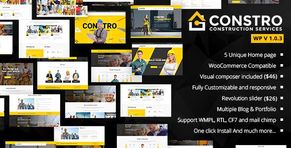 قالب Constro - قالب وردپرس کسب و کار ساختمانی
