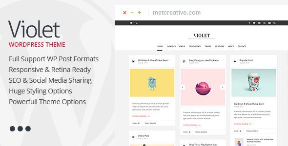 قالب Violet - قالب وردپرس وبلاگی