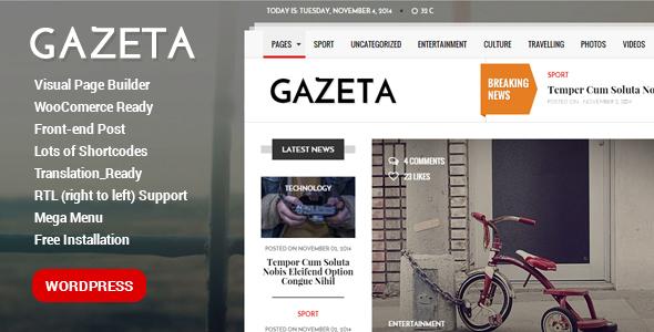 قالب Gazeta - قالب مجله وردپرس