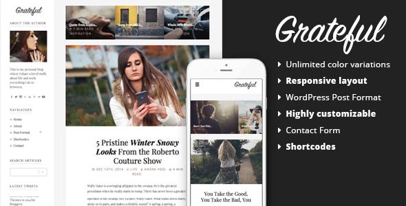 Grateful - قالب وردپرس وبلاگ شخصی