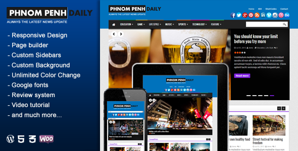 Phnom Penh Daily - قالب وردپرس وبلاگ و مجله