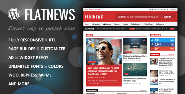 FlatNews - قالب مجله وردپرس