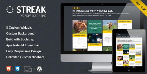 قالب Streak - قالب وردپرس نمونه کار و بلاگ