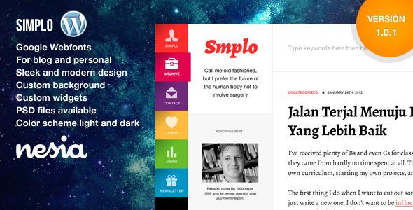 قالب Simplo - پوسته وردپرس سایت شخصی