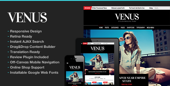 قالب Venus - قالب وردپرس سایت مجله خبری