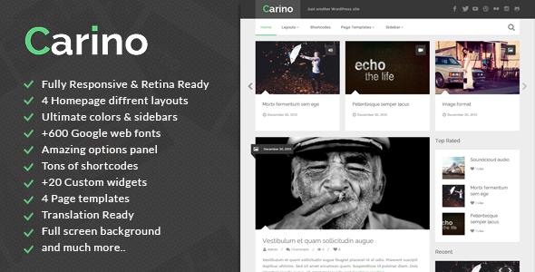قالب Carino - قالب وردپرس وبلاگ