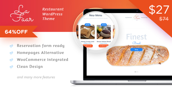 قالب Lafaar - قالب فروشگاهی رستوران و منوی غذایی