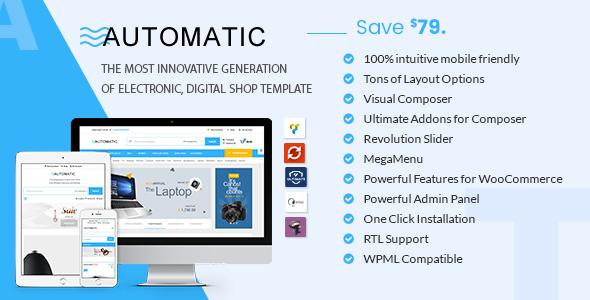 قالب Automatic - پوسته ووکامرس الکترونیک، کامپیوتر و فروشگاه دیجیتال