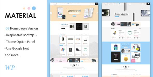 قالب Material - قالب وردپرس فروشگاه لوازم الکترونیکی