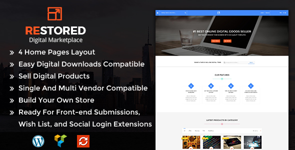 ریستورد | Restored MarketPlace - قالب وردپرس فروش فایل