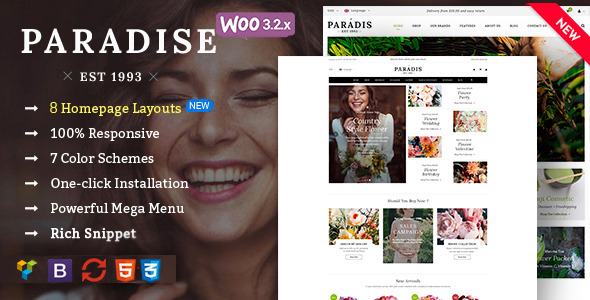 Paradise - قالب وردپرس فروشگاهی