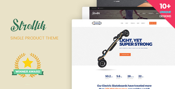 Strollik - قالب وردپرس فروشگاه تک محصولی