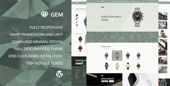 قالب Gem - قالب وردپرس فروشگاه محصولات لاکچری