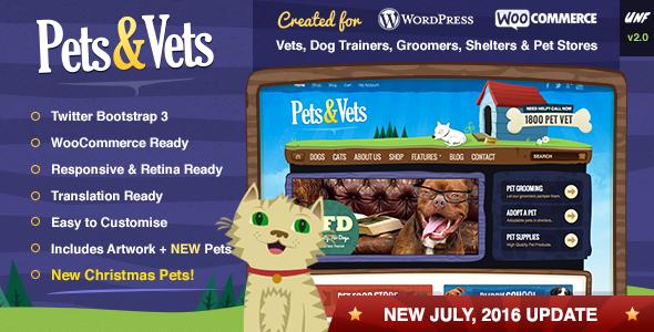 قالب Pets & Vets - پوسته فروشگاهی ووکامرس