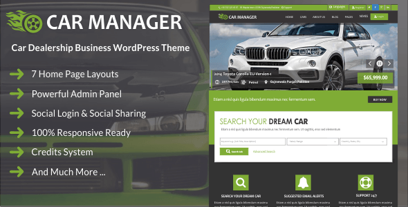 قالب Car Manager - قالب وردپرس نمایندگی فروش خودرو