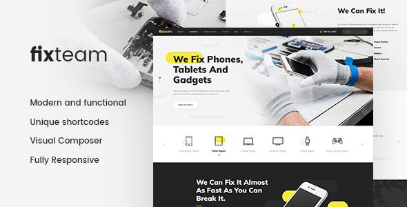 قالب FixTeam - قالب سایت تعمیر لوازم الکترونیکی