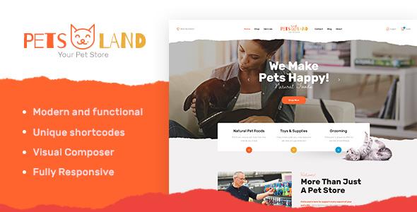 قالب Pets Land - قالب وردپرس فروشگاه حیوانات خانگی و دامپزشکی
