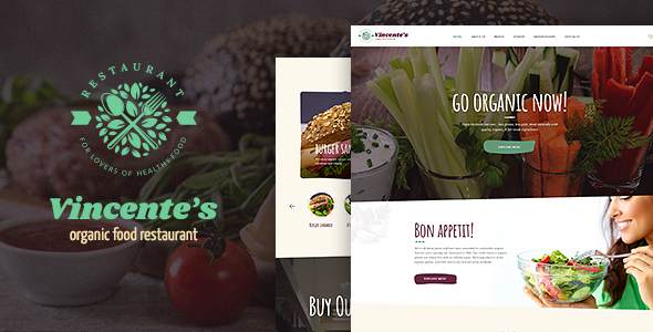 قالب Vincente's - قالب وردپرس رستوران موادغذایی اورگانیک
