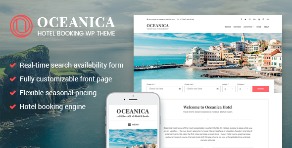 قالب Oceanica - قالب وردپرس رزور هتل