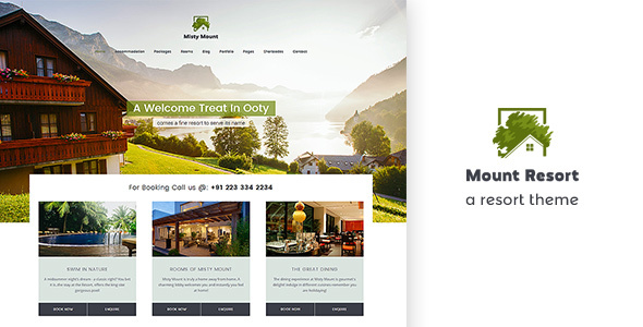 قالب Mount Resort - قالب وردپرس هتل داری و رستوران
