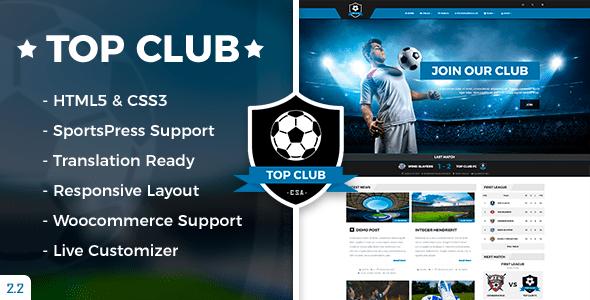 قالب Top Club - قالب ورزش فوتبال برای وردپرس
