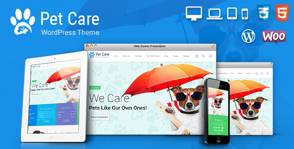 قالب Pet Care - قالب وردپرس فروشگاه حیوانات خانگی و دامپزشکی