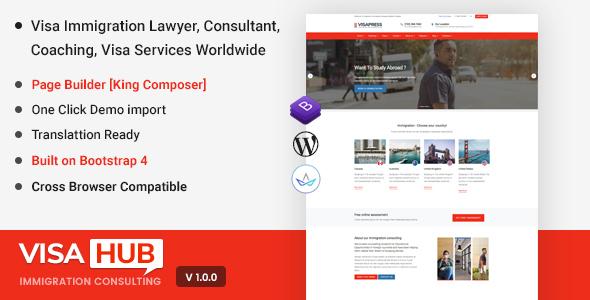 قالب ویزا هاب | VisaHub - قالب وردپرس مشاوره مهاجرت