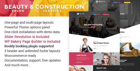 قالب Beauty Salon & Construction Services - قالب وردپرس