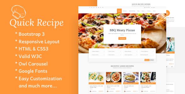 قالب Quick Recipe - قالب وردپرس غذا و دستور پخت