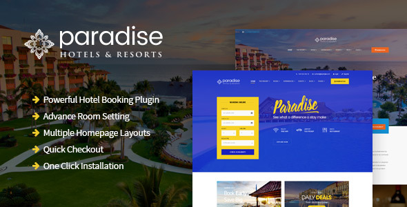 قالب Paradise - پوسته وردپرس هتل و استراحتگاه