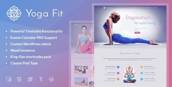 قالب Yoga Fit - قالب وردپرس ورزشی، تناسب اندام و باشگاه