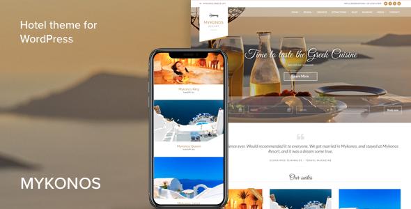 قالب Mykonos Resort - پوسته هتل برای وردپرس