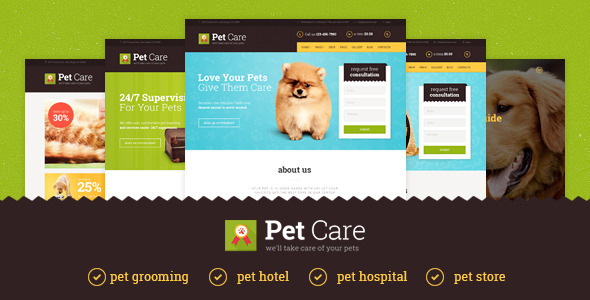 قالب Pet Care - قالب وردپرس هتل و بیمارستان
