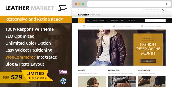قالب Leather Market - قالب فروشگاهی وردپرس
