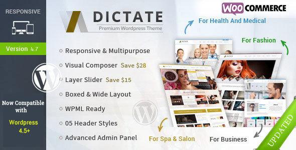 قالب Dictate - قالب وردپرس کسب و کار، مد، پزشکی و اسپا