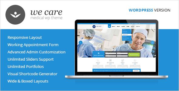 قالب We Care - قالب وردپرس پزشکی و سلامتی
