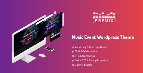 قالب Premix - قالب وردپرس کنسرت و رویداد موسیقی