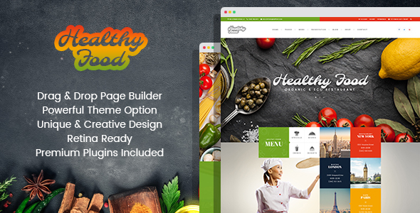 قالب Healthy Food - قالب وردپرس رستوران و ارگانیک