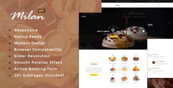 قالب Milan - قالب وردپرس نانوایی، کافه و رستوران