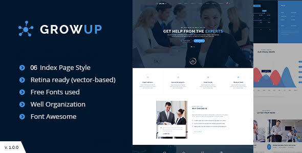 قالب GrowUp - قالب وردپرس کسب و کار مالی