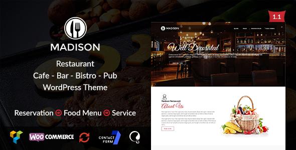 Madison - قالب رستوران وردپرس