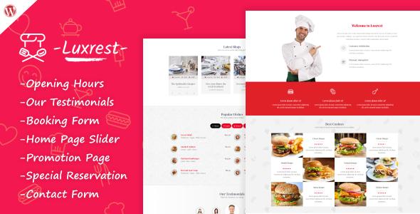 قالب Luxrest - قالب وردپرس رستوران و کافه