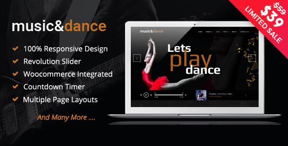 قالب Music & Dance - قالب وردپرس