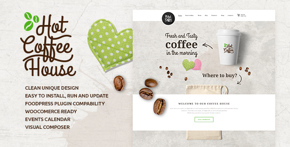 قالب Hot Coffee - قالب سایت رستوران و کافی شاپ