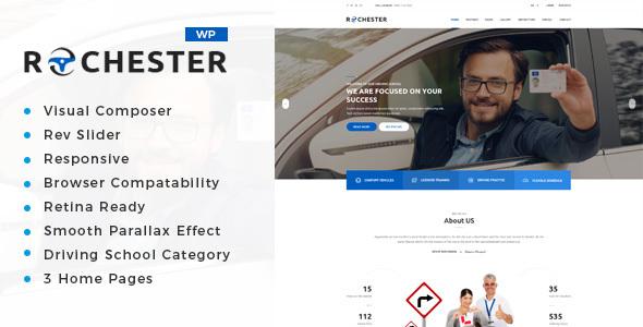 قالب Rochester - قالب وردپرس آموزشگاه رانندگی