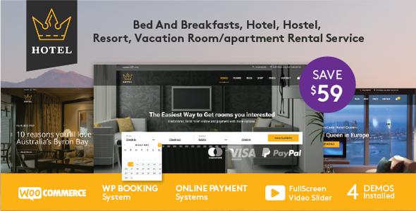 قالب هتل ملکه | Hotel Queen - قالب وردپرس هتل