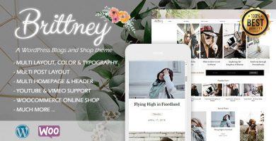قالب Brittney - قالب فروشگاهی و بلاگی وردپرس