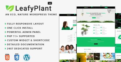 قالب LeafyPlant - پوسته وردپرس سایت محیط زیست