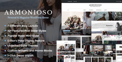 قالب Armonioso - قالب وبلاگی شخصی و مجله ای وردپرس